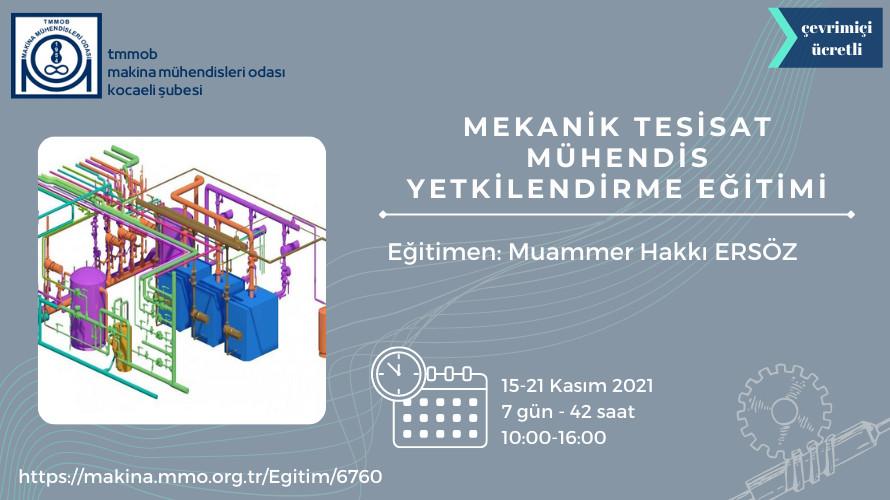 Mekanik Tesisat Mühendis Yetkilendirme Eğitimi ( Çevrimiçi)
